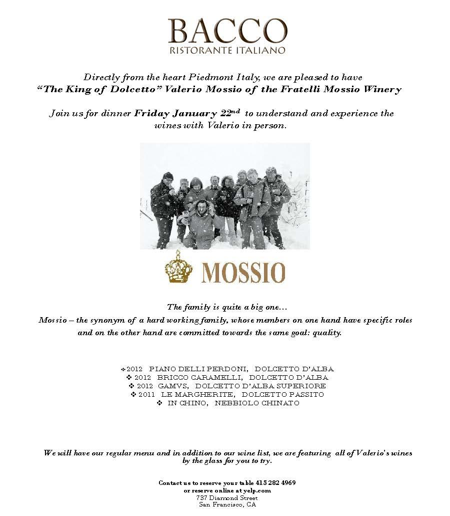 Mossio Dinner Bacco